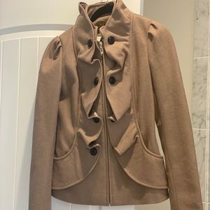 Idra Brown Khaki Sz 2 Ruffled Zip Blazer Jacket